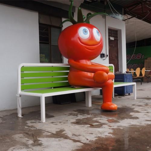 不锈钢西红柿雕塑座椅