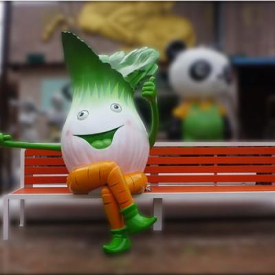不锈钢白菜雕塑座椅