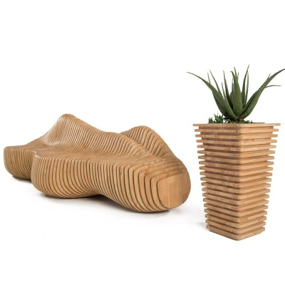 木艺美陈座椅花器组合
