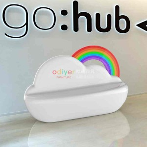 玻璃钢云朵彩虹椅