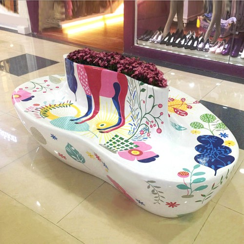 玻璃钢心形花盆座椅