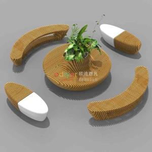玻璃钢木艺切片树池座椅