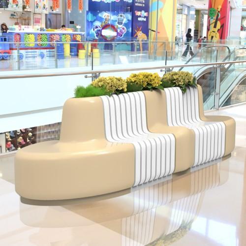 玻璃钢商场花盆座椅