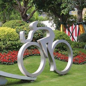 自行车比赛不锈钢雕塑学校广场公园摆件