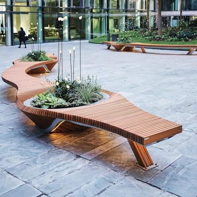 橡胶木松木景观切片座椅