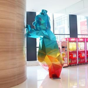 彩虹熊造型玻璃钢雕塑切面商场雕塑