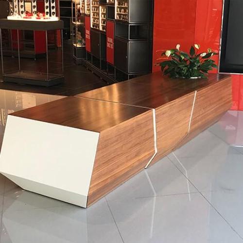 玻璃钢木面拼接长条坐凳
