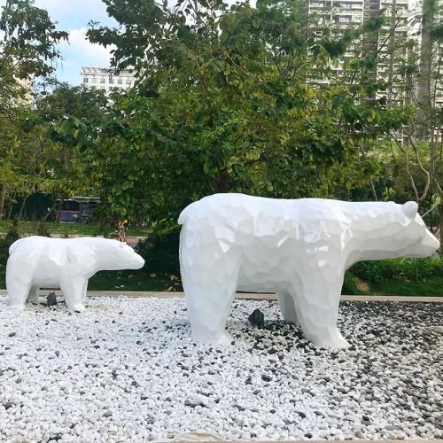 北极熊切面玻璃钢雕塑户外景观广场公园雕塑