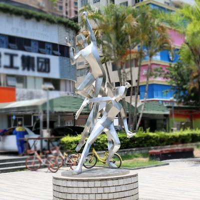 运动员不锈钢雕塑广场户外景观摆件