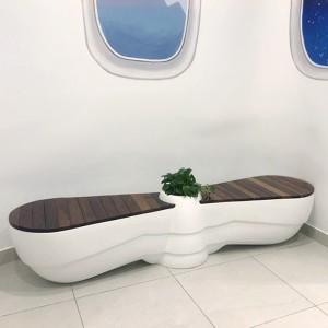玻璃钢木艺创意花盆坐凳