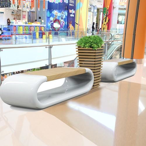 玻璃钢木艺座椅花盆组合