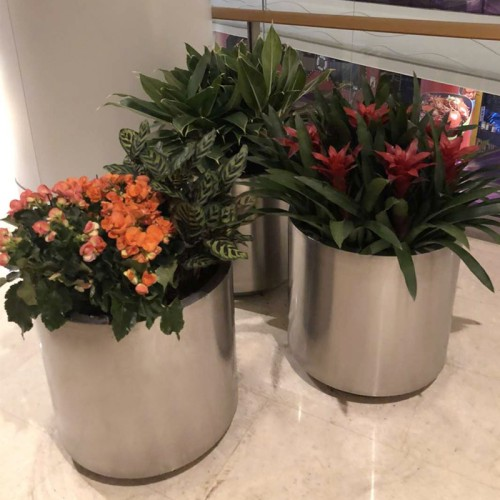 不锈钢大型圆柱花盆
