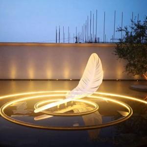 羽毛不锈钢雕塑景观房地产售楼部雕塑
