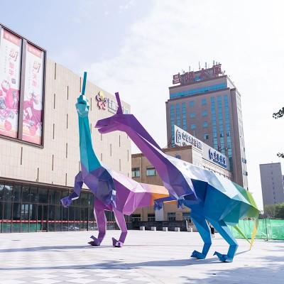大型恐龙不锈钢雕塑动物景观城市广场雕塑