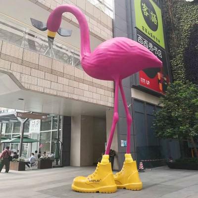 大型火烈鸟玻璃钢雕塑广场动物景观城市雕塑