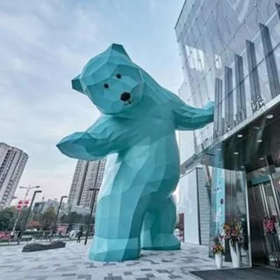大型熊玻璃钢雕塑切面广场抽象雕塑