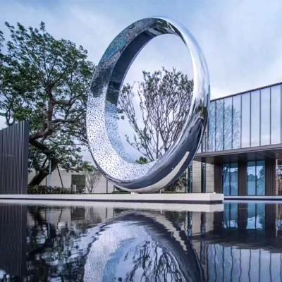 圆环月亮不锈钢雕塑水景艺术售楼部酒店摆件
