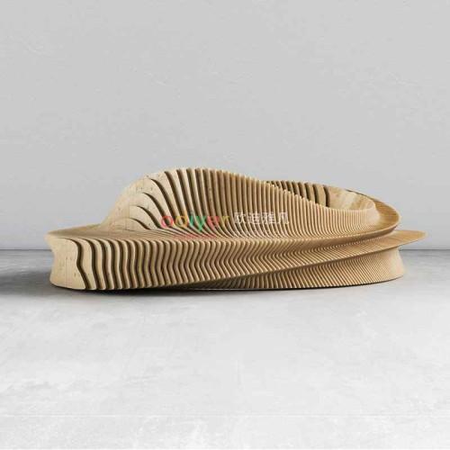 圆形木艺切片花池树池坐凳