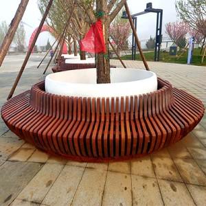 菠萝格木艺玻璃钢树池坐凳