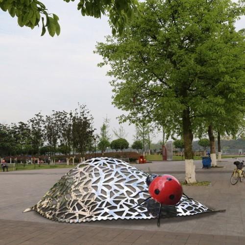 瓢虫不锈钢雕塑公园景观广场摆件