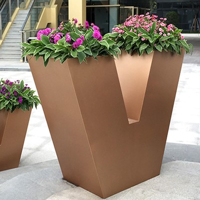 V型不锈钢户外花盆