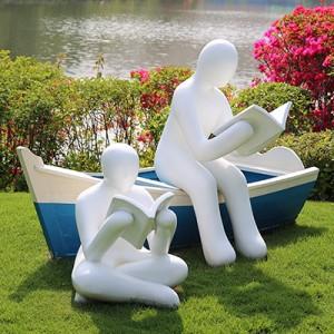 看书人物玻璃钢雕塑校园幼儿园景观雕塑