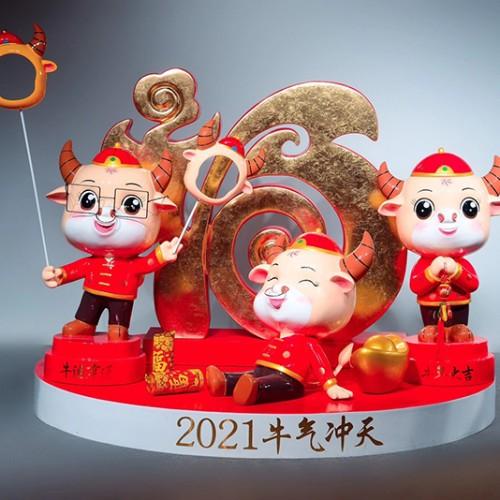 新年牛雕塑商场美陈DP点
