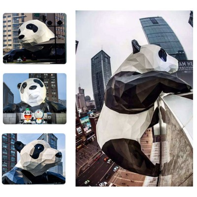 大型玻璃钢熊猫雕塑售楼部酒店商场DP点美陈