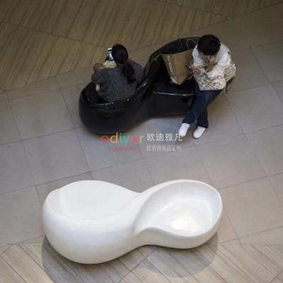 双人创意玻璃钢座椅商场酒店艺术坐凳