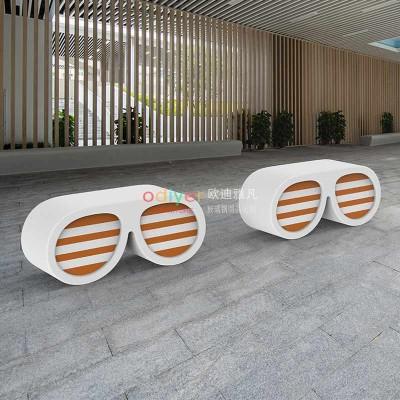 眼镜玻璃钢坐凳创意造型商场美陈休闲座椅