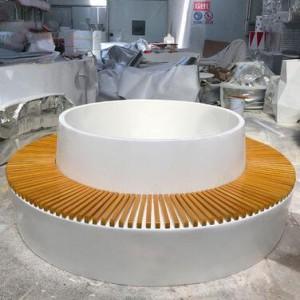 玻璃钢木艺组合圆环形花盆树池坐凳
