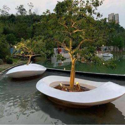 玻璃钢大型花盆艺术景观异形树池花坛
