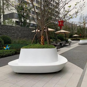 玻璃钢异形花坛景观树池休闲坐凳