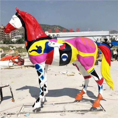 彩绘马玻璃钢雕塑动物景观雕塑