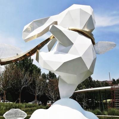 园林景观小品卡通切面兔子落地摆件户外大型玻璃钢草坪广场雕塑