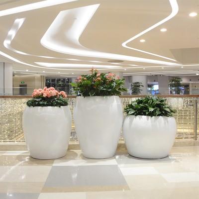 商场玻璃钢花盆摆件公路户外美陈创意组合酒店大堂落地花器