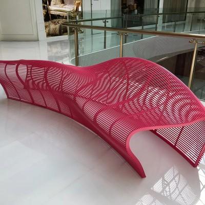 不锈钢镂空座椅创意弧形景观美陈休息坐凳