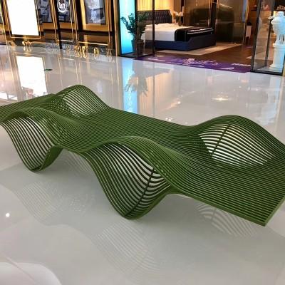 不锈钢商场坐凳异形镂空创意美陈休闲座椅