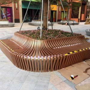 不锈钢花坛户外公园小区金属树池坐凳