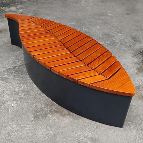 不锈钢叶型防腐木户外公园草坪庭院艺术坐凳