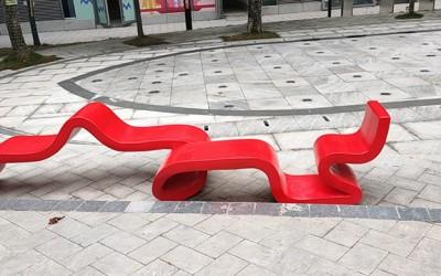 海南户外街区广场定制玻璃钢飘带坐凳