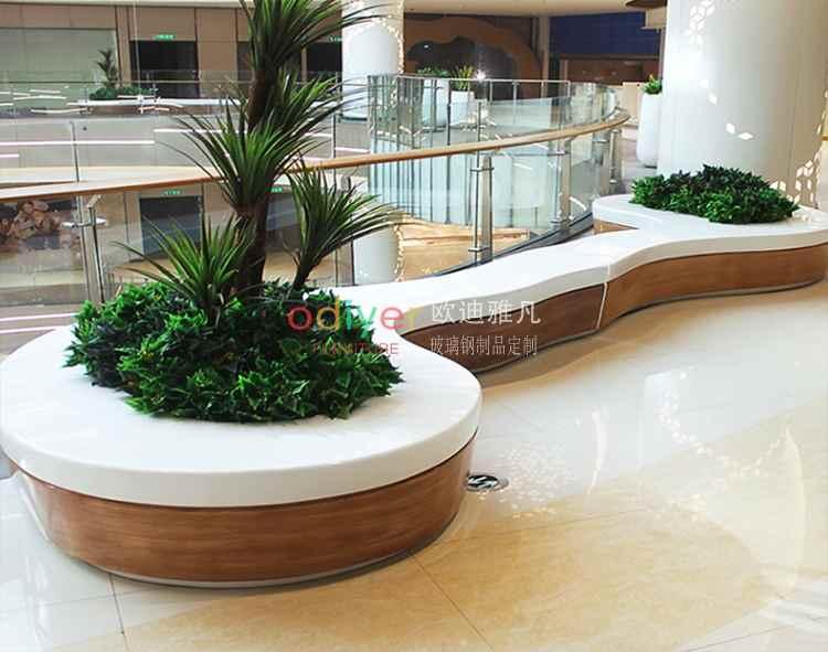 玻璃钢仿木纹树池坐凳