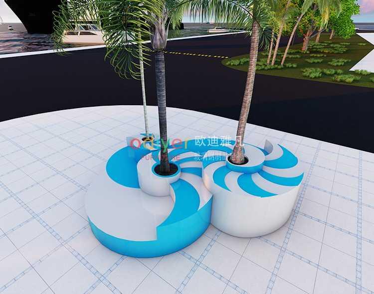 玻璃钢海螺艺术树池坐凳