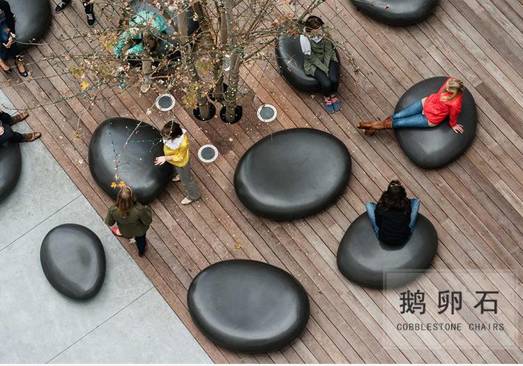 玻璃钢鹅卵石户外景观坐凳