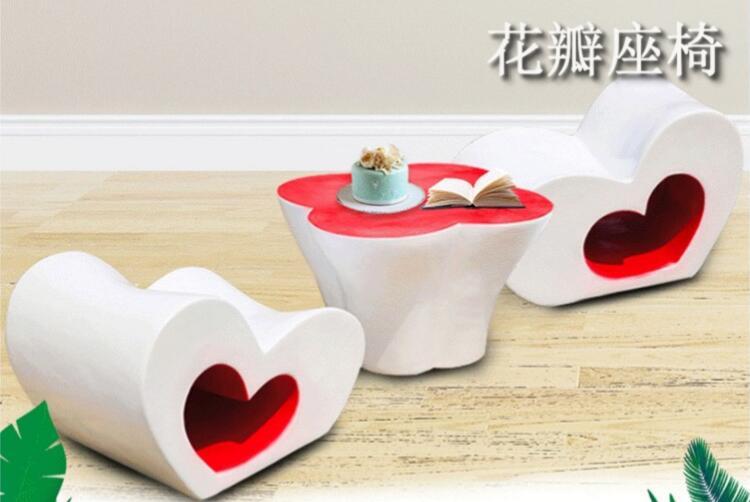 玻璃钢爱心花瓣座椅,爱心桌椅组合!