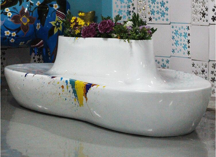 心形玻璃钢花盆座椅,商场休闲椅都喜欢选这款!