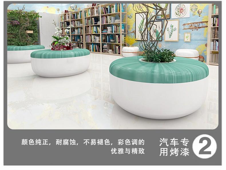 玻璃钢户外木纹圆形坐凳