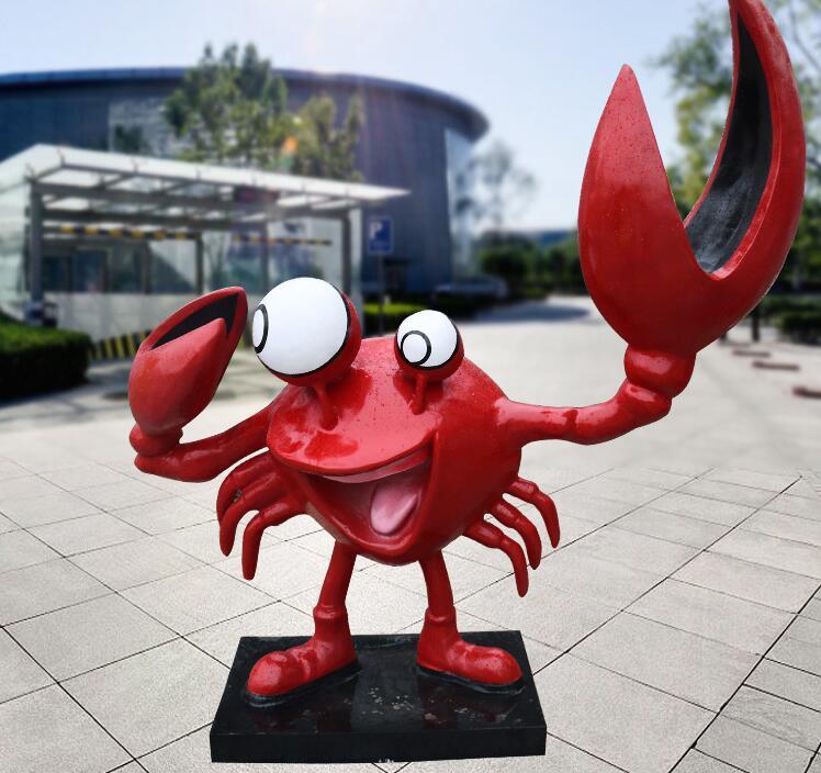 玻璃钢螃蟹雕塑,送朋友雕塑的不二之选!