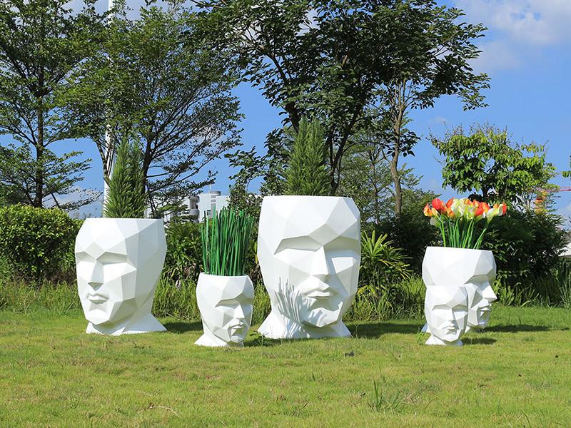 人脸玻璃钢创意花盆