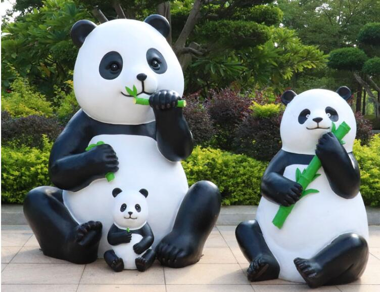 玻璃钢熊猫雕塑,国宝雕塑真是受欢迎!